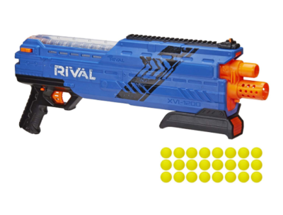 This is an image of a blue Atlas Nerf blaster.