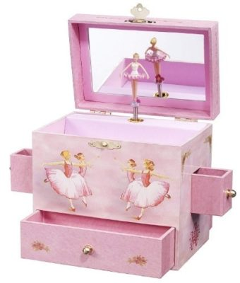 This is an image of girl's musical jewlery box in pink colors