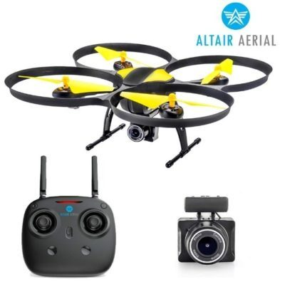 This is an image of kid's begginer drone with camera in yellow and black colors