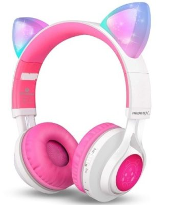 This is an image of bluetooth headphones with ears cat in white and pink colors