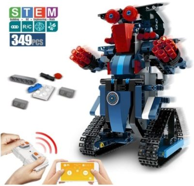 This is an image of boy's Robot building blocks with remote control in blue, red and black colors