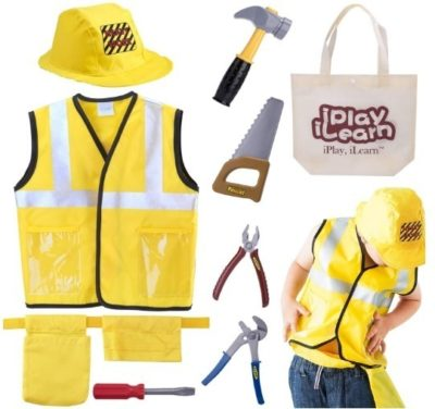This is an image of boy's contruction worker costum with toy role play in yellow colors
