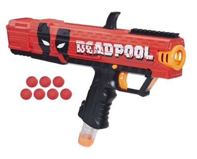 This is an image of a red deadpool edition nerf toy blaster.