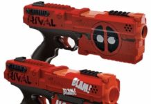 This is an image of a 2 pack red and black Deadpool Kronos Nerf blaster.