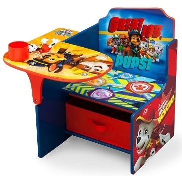 This is an image of boys chair and desk in delta design has blue and red colors