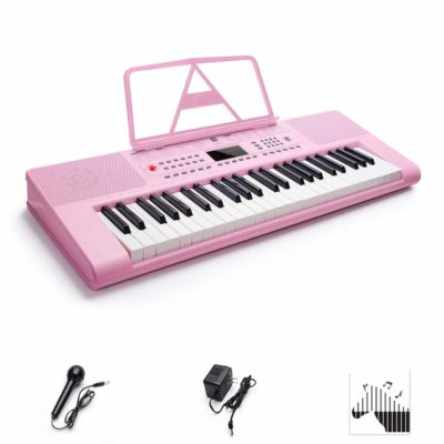 This is an image of a pink digital keyboard piano for kids.