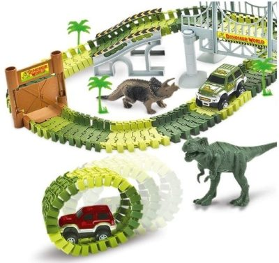 This is an image of boy's Dinosaur race car and track with train road toys in all the green colors