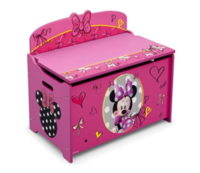 This is an image of a pink Minnie Mouse storage box for little girls.