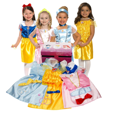 This is an image of a young little girls wearing Disney Princess gowns.
