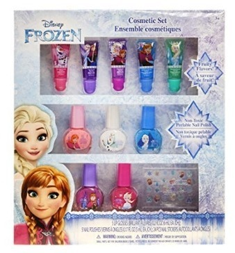This is an image of girl's cosmic pack that has lip and polish also nail stickers by disney