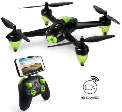 This is an image of kid's drone with camera in black and green colors