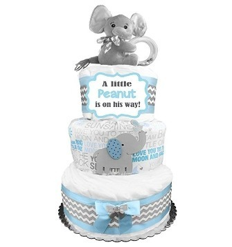 This is an image of boys elephant diaper cake in gray and blue and white colors