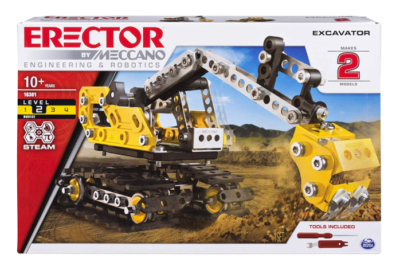 This is an image of a 2 in 1 yellow excavator building toy for kids,