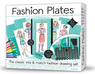 This is an image of a fashion drawing set for young little girls.