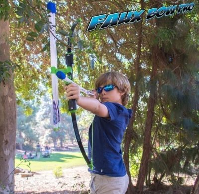 This is an image of boy's pretend arrow archery set in white and blue colors