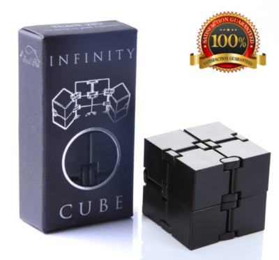 This is an image of a black fidget cube toy for kids.
