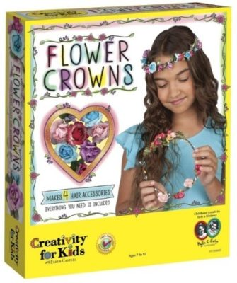 This is an image of girl's flower crowns craft in colorful colors