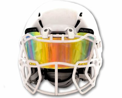 This is an image of a clear orange visor helmet.