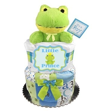 This is an image of boys frog diaper cake in green and white colors