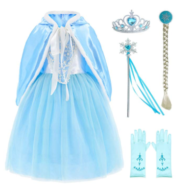 This is an image of a blue Elsa Birthday costume for little girls.