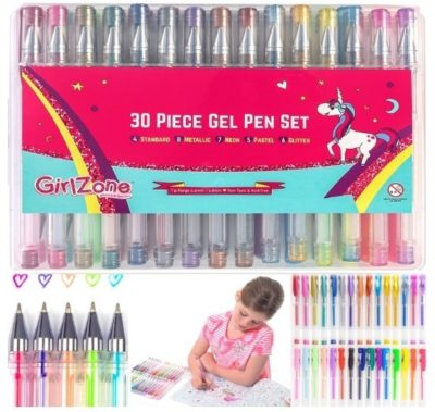 This is an image of girl's 30 gel pencils set in multi colors