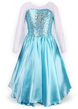 This is an image of girl's princess dress in blue color