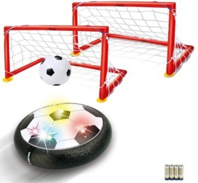 This is an image of boy's hover soccer ball with two goals in red color