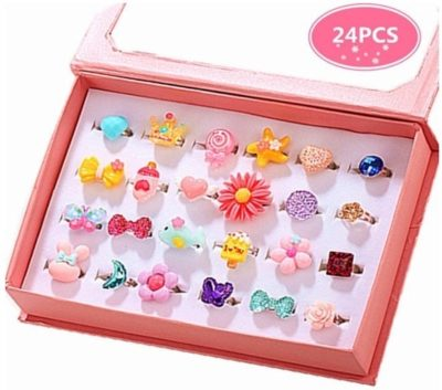 This is an image of girl's 24 jewel rings in a pink box