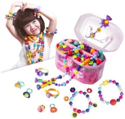 This is an image of girl's jewelery making kit in colorful colors