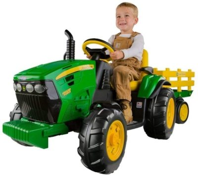 This is an image of kid's tractor by john deere in green and yellow colors