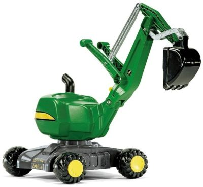 This is an image of kid's john deere ride on digger in green color