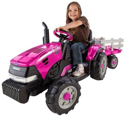 This is an image of kid's joh deere tractor in pink color
