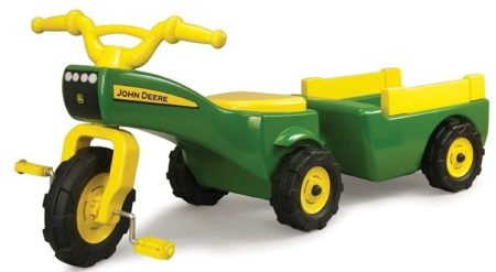This is an image of kid's john deere tractor has a wagon in green and yellow colors