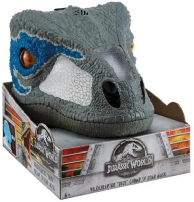 This is an image of boys jurassic world mask in blue color