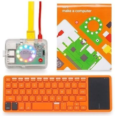 This is an image of kid's computer kit in orange color
