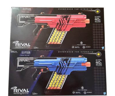 This is an image of a 2 pack red and blue Khaos motorized blaster.