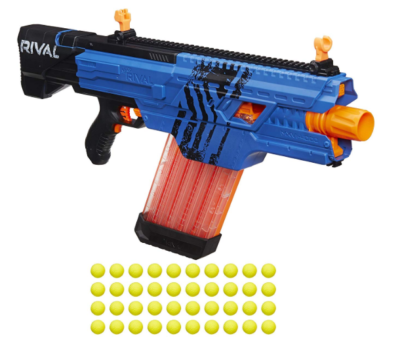 This is an image of a blue Khaos Nerf blaster.