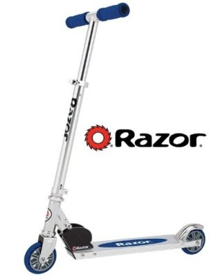This is an image of boy's kick scooter in blue color