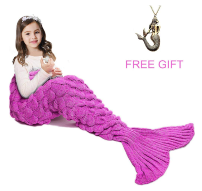 This is an image of a pink fish tail blanket for kids.