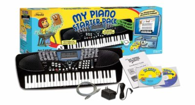 This is an image of a kid's keyboard piano starter pack.