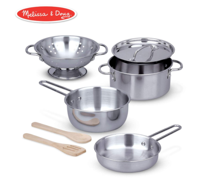 This is an image of a stainless steel cooking pans and pots for little girls.