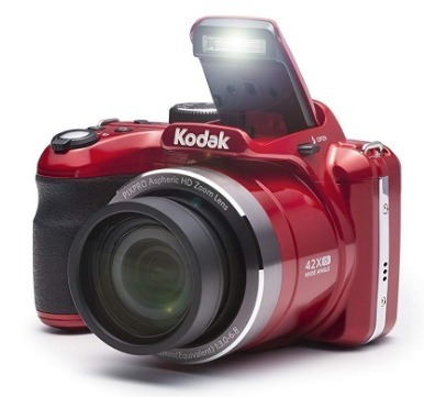 This is an image of teen's digital camera with LED screen by kodak in Red color