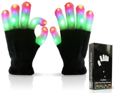 This is an image of boys led fingers glove in black color