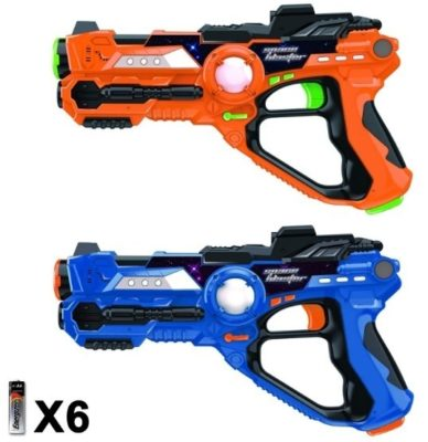 This is an image of boys laser tag game with 2 guns in blue and orange colors