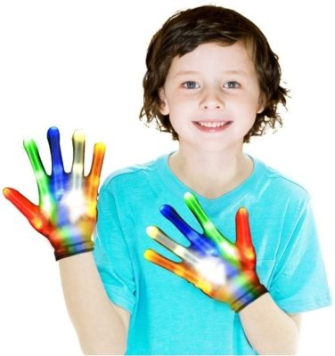 This is an image of boy's light up gloves in colorful colors