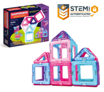 This is an image of a colorful magnetic geometric shaped toys for kids.