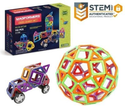This is an image of boy's Magnetic building blocks kit in colorful colors