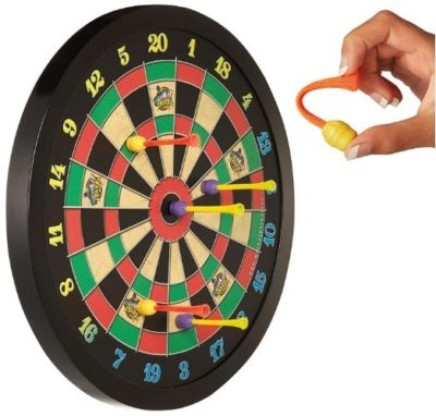 This is an image of boys magnetic dart board in black color