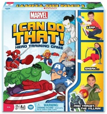 This is an image of boys marvel outdoor game with card game
