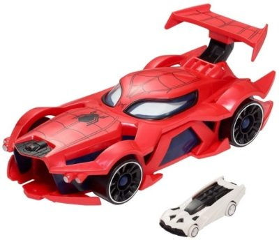 This is an image of boys spider man car by marvel hot wheels in red color